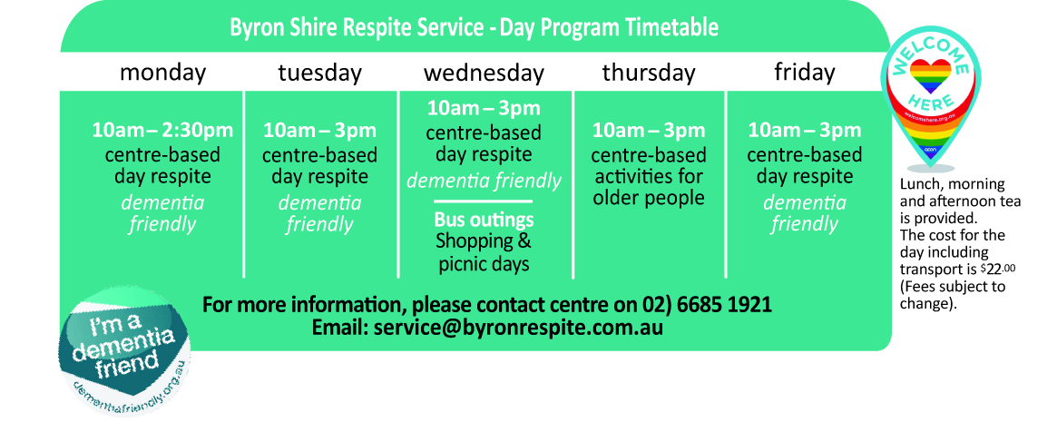 Byron Shire Respite Service centre based program timetable